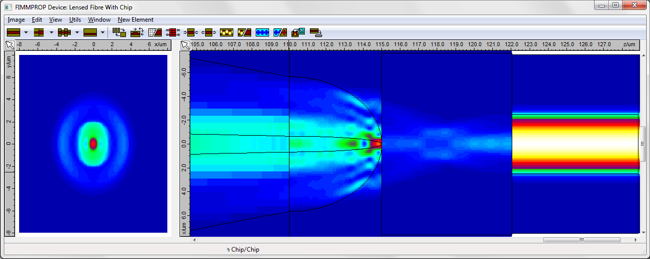 Lensed Fiber to Chip Coupling - simulation with FIMMPROP software