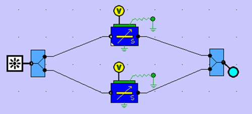Travelling wave modulator circuit